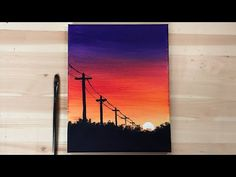 Small Canvas Paintings, Easy Canvas Art, Small Canvas Art, Simple Acrylic Paintings, Acrylic Painting Canvas, Sunset Painting Easy, Sunrise Painting, Sunset Art, Sunset Canvas