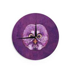 "Ancello ""Hoot!"" Owl Purple Wall Clock"