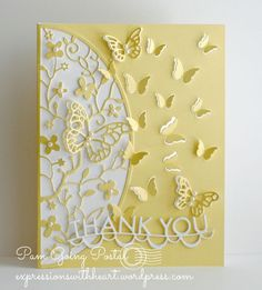 hand crafted Thank You card by Pam Sparks ... buttery yellow aand white ... die cuts ... butterflies galore ...: