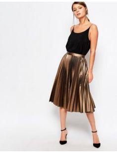 closet-pleated-coated-midi-skirt by closet #prom #dress #fashion #trends #onlineshopping #shoptagr