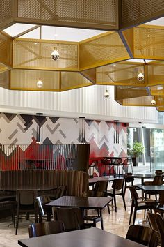Cafe Baci at Crown Casino, Melbourne, designed by Red Design Group.