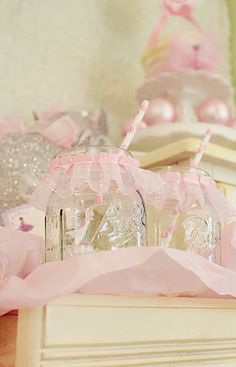 mason jar drinks ballerina party with pink lemonade.  Or you can add the tulle skirts to the apple juice bottles.