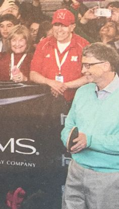 2016 Bill and Cheryl with Bill Gates at Warren Buffett ping pong match at Borsheim's in Omaha, Nebraska.