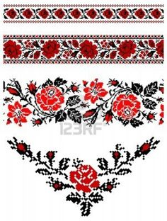 "Bottom one with red beads hanging down as a sternum tattoo ""Ukrainian embroidery pattern"" Folk Embroidery, Floral Embroidery, Cross Stitch Embroidery, Embroidery Patterns, Beaded Embroidery, Geometric Embroidery, Ukrainian Tattoo, Ukrainian Art, Cross Stitch Borders"