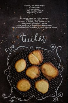 Recipe for Tuiles by Little Artisan Kitchen Artisan Kitchen, Biscuits, Vanilla, Cookies, Baking, Simple, Recipes, New Recipes, Crack Crackers