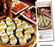 Flip-Top Devilled Eggs - A recipe from an ad for Underwood Devilled Ham published in the fifties