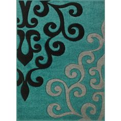 Viola Modern Teal Black Grey Scroll Rug Found On Polyvore Featuring Home Rugs
