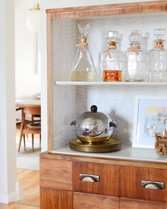 Making Over A Kitchen Hutch With Wallpaper | west elm