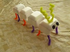 Another cute preschool craft we can make from our collection of googly eyes. Egg carton bugs!