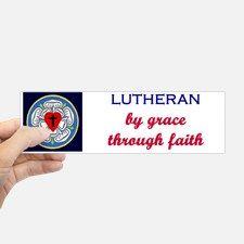 Lutheran by Grace 2 Bumper Bumper Sticker for