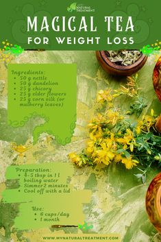 The Magical Tea Recipe for Weight Loss - 2kg/Week 4 lb/week weight loss #weightlosstea #weightlossherbs Weight Loss Herbs, Herbal Weight Loss, Weight Loss Tea, Weight Loss Detox, Best Herbal Tea, Best Tea, Lose Weight Naturally, How To Lose Weight Fast, Salty Foods