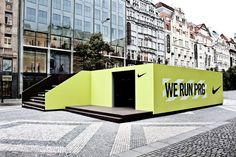 Nike pop-up in Prague.  Made from 7 shipping containers -easily assembled.
