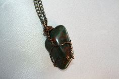 Mens Bloodstone Wire Wrapped Pendant by CrystalLuvJewelry on Etsy, $15.55