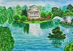 Irina  Afonskaya - Hand painted picture, house with lake