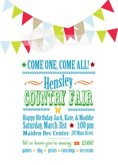 Country Fair Birthday Party by SadiePrissSoiree on Etsy, $10.00