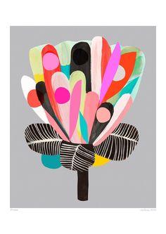 Protea Art Print - Grey