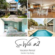 Sea Walk #2 is a four-bedroom, four-and-a-half-bath vacation home located 0.1 miles north of Surfside Pier. Sleeping accommodations include one king, three queen and two double-sized beds, plus a queen sofa bed. Outdoor amenities include furnished and covered balconies, a 9.5-by-19-foot fenced-in private swimming pool. Sea Walk, Queen, One Kings, Balconies, Vacation Rentals, Sofa Bed, Swimming Pools, Beds, Walking