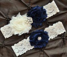 Wedding Garter, Bridal Garter Set - Ivory Lace Garter, Keepsake Garter, Toss Garter, Shabby Chiffon Rosette Ivory Navy Blue, Something Blue, $22.00