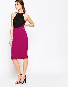Image 4 ofHedonia Francine Midi Dress with Halterneck in Colourblock