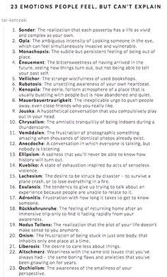 23 emotions people feel, but can't explain