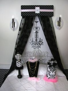 CRIB Canopy Crown Princess Personalized Black Pink Upholstered Add you OWN Sheers SALE on Etsy, $49.95