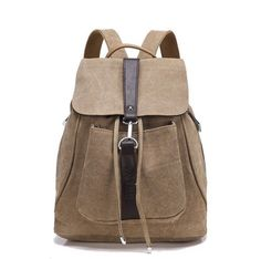 Women's Fashion Casual Quality Leather Canvas Backpack 5 Colors