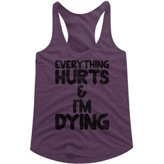 American Classics Aubergine Heather 'Everything Hurts' Tri-Blend... ($15) ❤ liked on Polyvore featuring tops, plus size, plus size tops, racerback tank top, womens plus tops, racer back tank and plus size tanks