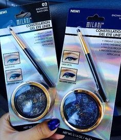 NEW Milani Constellation Gel Eye Liners in Enchanted Black Opal and Enchanted Lapis. Reader swatches, now on my blog!