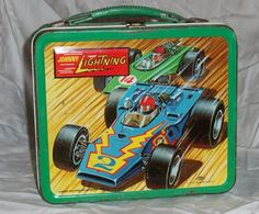 """I still have this 1970 Aladdin """"Johnny Lightning"""" metal lunch box!! It's now used to store shoe polish and brushes."""