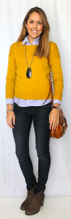 J's Everyday Fashion: Today's Everyday Fashion: The Mustard Mustard sweater and blue shirt = must try