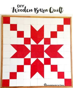 Wooden Barn Quilt - Red and White for Christmas decor
