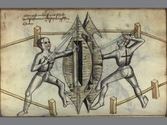 Depiction of a judicial duel between two men by Hans Talhoffer (Ms.Thott.290.2º, 1459), according to Swabian law (sword and pavese shield).