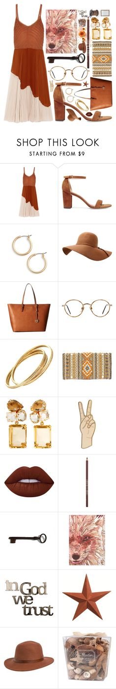 """""""two tone rust"""" by icy-frappe ❤ liked on Polyvore featuring Jason Wu, Stuart Weitzman, Nordstrom, MICHAEL Michael Kors, GlassesUSA, LULUS, Bounkit, Lucky Brand, Lime Crime and Lord & Berry"""