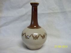 Pont des Vernes Brown Beige Jug Floral Swags Discontinued Vintage France Pottery
