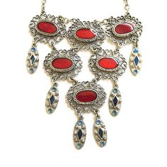 Vintage Art Deco Style Poured Red & Blue Enamel Filigree Link Bib Dangle Necklace by MyVintageJewels on Etsy https://www.etsy.com/listing/217211246/vintage-art-deco-style-poured-red-blue