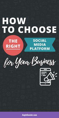 How to Choose the Right Social Media Platform for Your Business. This post includes a video tutorial and an infographic to help you discover the right platform to grow your business on social media. Marketing Goals, Social Media Marketing, Business Marketing, Marketing Strategies, Marketing Ideas, Content Marketing, Facebook Marketing, Online Marketing, Digital Marketing