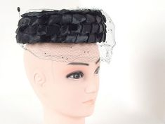 Vintage 1940s 1950 Dayne Taylor Black Woven Ribbon Low Profile Pillbox Hat with Hatpin