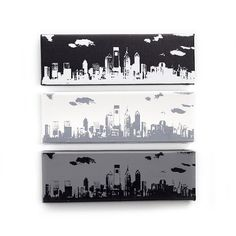 City Skyline Canvas Set of 3 (12 x 4 inch) Cities available: Austin, Baltimore, Houston, Jacksonville, Nashville, New York, Philadelphia, Washington DC.  Modern Cityscape Home Decor, Black and White Wall Art, Handmade Gift