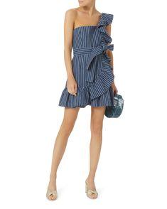 Konner One Shoulder Striped Denim Dress, STRIPE, hi-res
