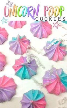 Unicorn Poop Cookies Recipe —Whimsical, rainbow colored meringue!