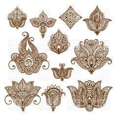 Set of ornamental stylized flowers - indian ethnic tracery for tattoo, 29954, Design elements,  Download, Royalty-free, Vector, eps, clip art, graphics