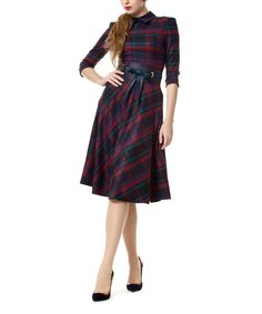 Look at this D'Shea Knitwear Petrol & Bordeaux Plaid Dress on #zulily today!