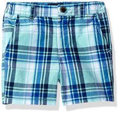 The Children's Place Baby-Boys Li'l Guy's Plaid Flat Front Shorts, Mellow Aqua, 18-24 months Baby Boy Clothes