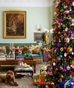 A beautiful room, made prettier by a colorful Christmas tree.