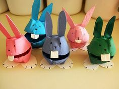 Easter or any-day delightfulness. Tinted bunnies from egg cartons.