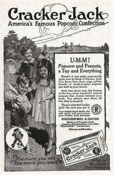Cracker Jack, 1920 Old Advertisements, Retro Advertising, Retro Ads, Vintage Candy, Weird Vintage, Vintage Food, Vintage Stuff, 1920s Ads, 1930s