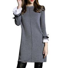 Winter Women Sweaters Knitted Dress Elegant A-line Pullovers Female Fashion Casual Party Dress Butterfly Sleeve Black&Gray
