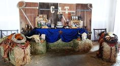 Western themed 55th birthday party with So Many Fun Ideas via Kara's Party Ideas | Cake, decor, cupcakes, games, desserts, and MORE! KarasPartyIdeas.com #westernparty #oldwest #rusticparty #cowboyparty #partydecor #partyideas (22)