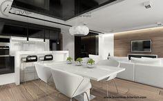 Projekt salonu z aneksem Inventive Interiors - biały stół z białymi krzesłami - drewno na ścianie TV