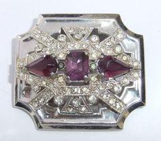 Vintage Art Deco McClelland Barclay Amethyst Crystal Rhinestone Brooch | eBay